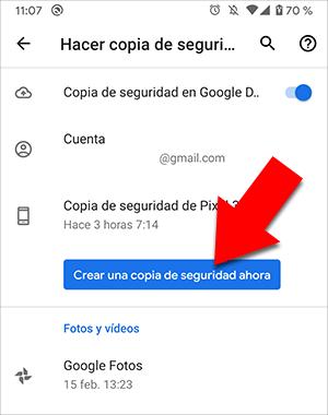 Copia de seguridad de Android a Google Drive