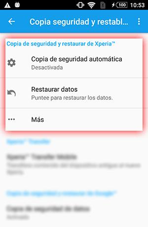 Sony Xperia copia de seguridad y restauración