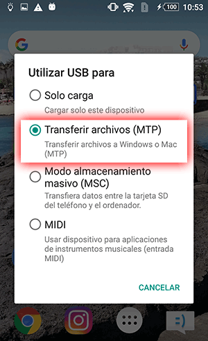 Configure Android para que los archivos se transfieran a la PC